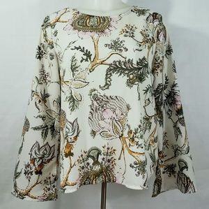 KENAR Beautiful Floral Print Top Womens Medium